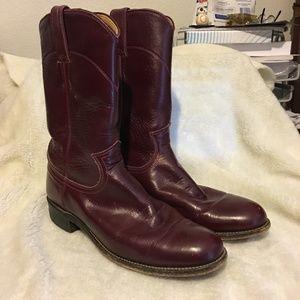 Justin Ladies Roper Boot Burgundy 71/2 B